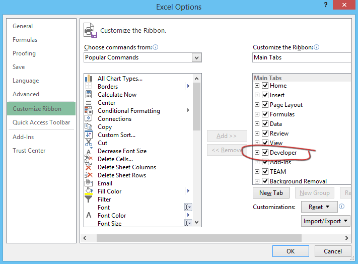Excel charting developer option