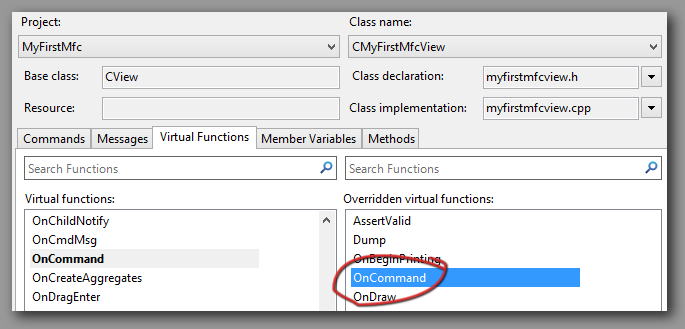 MFC ClassWizard double click OnCommand to add virtual function.