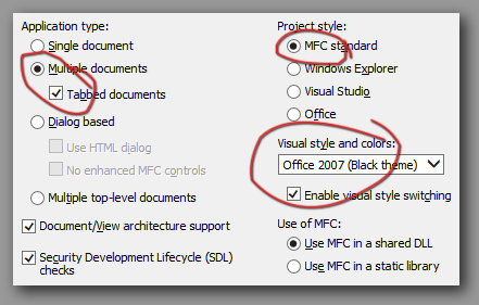 Mfc visual studio project settings.