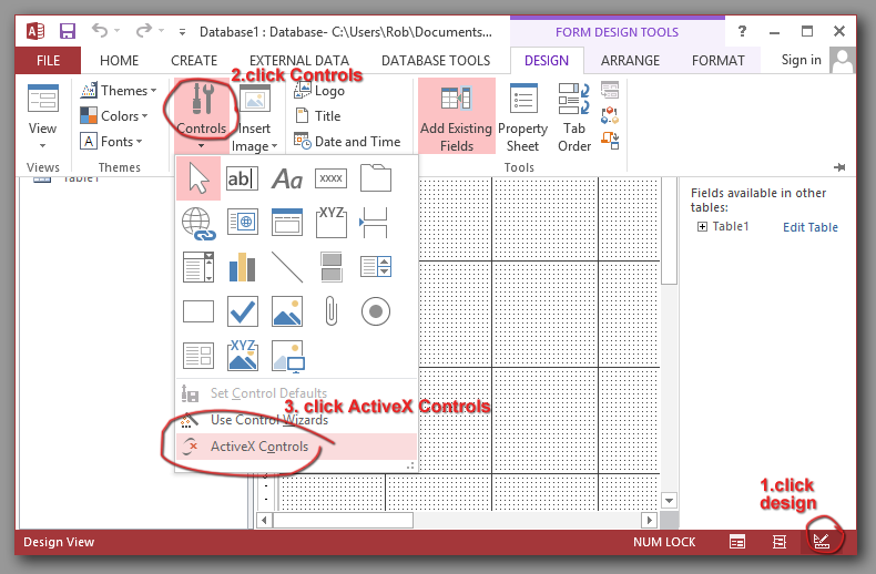 Adding ActiveX to MS access