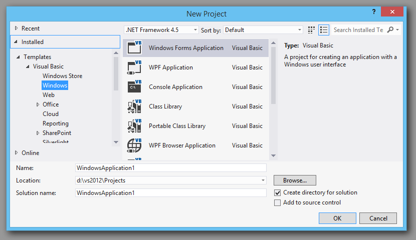 Adding vb.net charting to vs2012